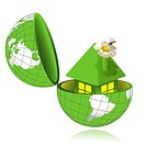 illustration, green house with flower in pipe in globe