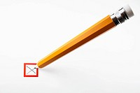 Pencil marking an X in a checkbox
