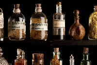 Various old_fashion bottles with non_western script handwriting