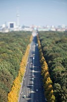 Berlin cityscape of the Tiergarten and city in background, tilt_shift