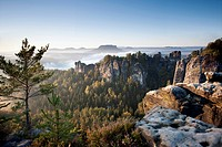 Morning at the Bastei, Elbe Sandstone Mountains, Saxon Switzerland National Park, Germany