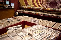 Bins of compact discs in a German record store