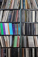 Rows of records on shelves