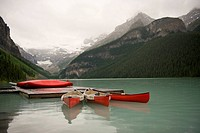 Canoes on Lake Louise, Banff National Park, Alberta, Canada