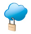 Cloud computing security concept with locked cloud