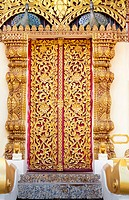 thai native ivy pattern gold door at wat thai,Chaingrai,Thailand