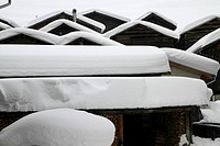 Patterns of snow_capped cabins