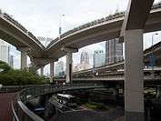 City streets and overpasses in Shanghai, China