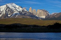 View of the Torres del Paine, Parque Nacional Torres del Paine, Patagonia, Chile