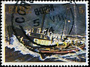 IRELAND _ CIRCA 1974: A stamp printed in Ireland honoring 150th Anniversary of R.N.L.I. Daunt Island Lightship and Mary Stanford Ballycotton Lifeboat,...