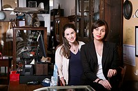 Two woman in an antiques shop