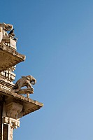Elephant carvings on temple roof, Udaipur, Rajasthan, India