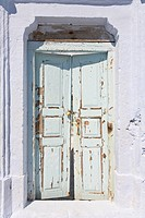 Weathered door on the Greek island of Santorini, Aegean Sea, Europe, Greece
