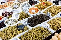 olives, street market in Salles_sur_Verdon, Provence, France