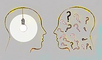 Two profiles face to face with a lit up light bulb and question marks inside their heads