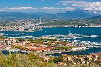 View of Porto della Spezia and Golfo della Spezia from Campiglia village, Province of La Spezia, Liguria, Italy, Europe,