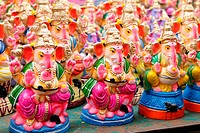 Ganesha dolls made of clay, hand painted at a local market