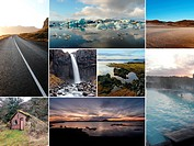A collage of multiple images from Iceland, Europe.