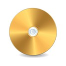A golden compact disc, isolated object over white background