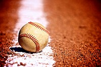 Used Baseball on the field with vignette effect for perspective