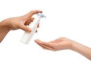 Hand giving handcream isolated on white