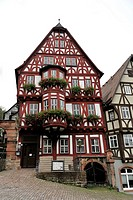 Market square with wine tavern, half-timbered houses, Miltenberg, Mainfranken, Lower Franconia, Franconia, Bavaria, Germany, Europe