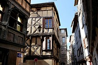 Traditional half_timbered house dated 15th century, Coutellerie street, historic centre, Thiers, Puy de Dome, France, Auvergne, Europe