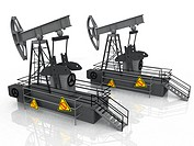 Oil pumps on a white background