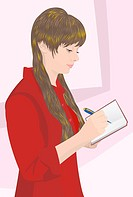 Illustration. Vector. The girl in red blouse wrote pen in a notebook