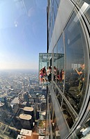 Visitors on the 412 meter-high observation deck, Skydeck, Willis tower, formerly Sears Tower, Chicago, Illinois, United States of America, USA