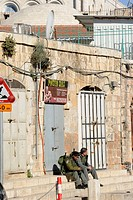 Israeli soldiers in the Christian Quarter in the Old City of Jerusalem, Israel, Middle East