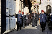 Patriarch of the Latin Patriarchate of Jerusalem being escorted by a guard of honour during the sunday procession from the Latin Patriarchate Church t...