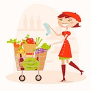 Shopping woman, illustration
