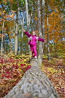 A 7-year-old girl, walking on fallen wood in autumnal forest