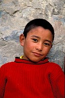 Boy wearing a red jumper, portrait, Lamayuru, Ladakh, Jummu and Kashmir, North India, India, Himalayas, Asia