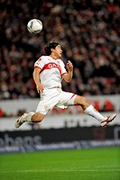 Header, Shinji Okazaki, VfB Stuttgart, Mercedes-Benz Arena, Stuttgart, Baden-Wuerttemberg, Germany, Europe