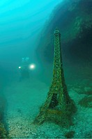Underwater museum, Eiffel Tower, sculpture, Cape Tarhankut, Tarhan Qut, Black sea, Crimea, Ukraine, Eastern Europe