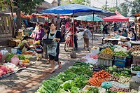 Fruit and vegetables on the morning market, Luang Prabang, Laos, Indochina, Asia