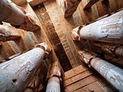 Hypostyle Hall. Dendera temple dedicated to Hathor goddess. Upper Egypt.