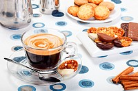 Morning fresh espresso coffee and delicious cookies