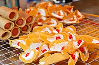 Crispy Pancakes on cooling rack, kind of Thai sweetmeat, Thailand
