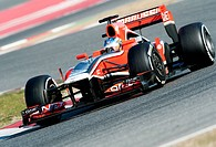 Charles Pic, FRA, Marussia F1 Team-Cosworth, during the Formula 1 testing sessions, 21-24/2/2012, at the Circuit de Catalunya in Barcelona, Spain, Eur...