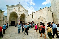 Entrance of the pilgrimage church of San Michele, Monte Sant'Angelo, place of pilgrimage, Puglia, Apulia, Italy, Europe