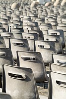 Rome, Italy.Chairs in front of St. Peter´s Basillica at the Vatican, used for Pope´s speeches.