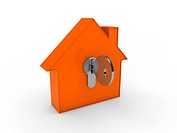 3d house key orange home estate security