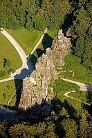 Aerial view, Externsteine rock formation, natural monument, sandstone rocks, Horn_Bad Meinberg, Ostwestfalen_Lippe, eastern Westphalia, North Rhine_We...