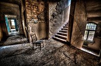 Abandoned lunatic asylum north of Berlin, Germany Chair with stairs