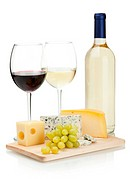 Wine, cheese and grapes. Over white