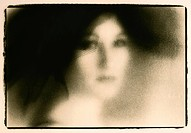 Romantic, nostalgic image of young woman face with black hat, fine art, lith print