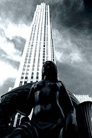 Black and white of a bronze statue in front of Rockefeller Center, Manhattan, New York City